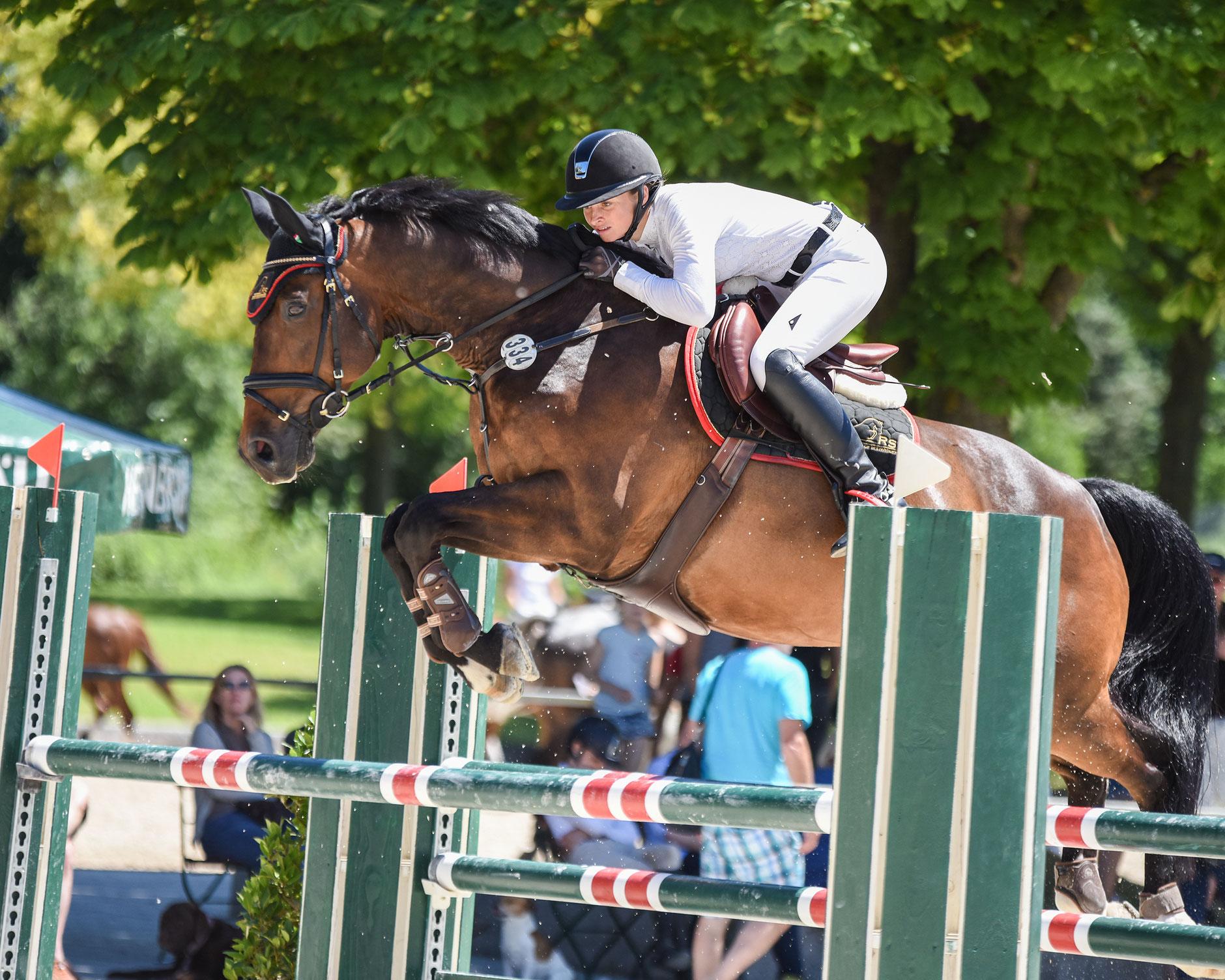 Kirsten Schweiger springt mit dunkelbraunem Pferd über grünen Sprung